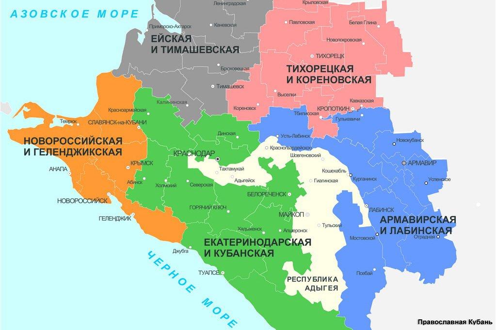 Карта Кубанской Митрополии