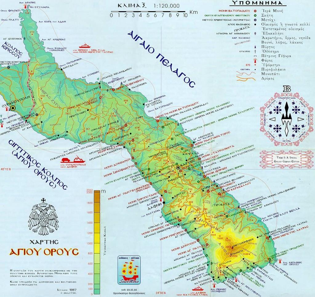 Карта Святой горы Афон