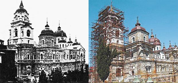 Андреевский собор - самый крупный на Афоне, вмещает 5 тыс. человек, построен на средства Сибирякова. Сейчас он реставрируется. В начале ХХ в. за грандиозные размеры его назвали Кремлем Востока