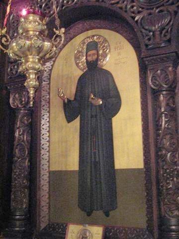 Неа-Макри - икона Святого Ефрема Неа-Макрийского в иконостасе монастыря
