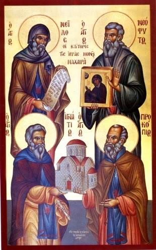 Преподобные основатели монастыря Неофит, Игнатий, Прокопий и Нил. Икона из соборного храма обители