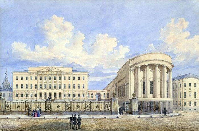 Новое здание Московского университета на Моховой с церковью св. Татьяны. Г.Ф.Барановский. 1848 г.