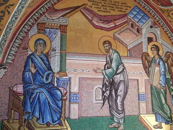 Роспись повествующая о написании Киккского образа Евангелистом Лукой