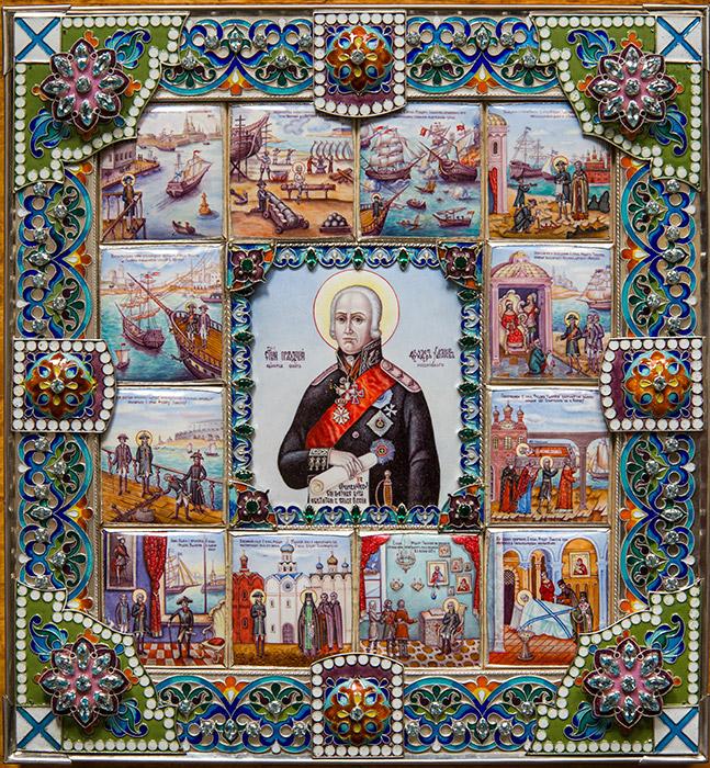 Икона Феодора Ушакова с клеймами