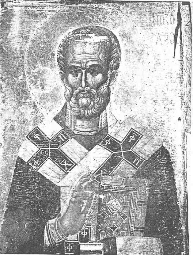 Оборатная сторона иконы Троеручицы - образ Святителя Николая