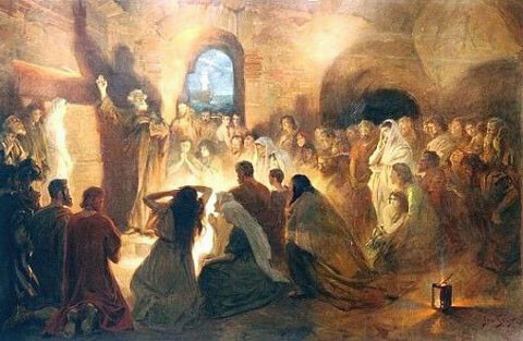 Апостол Пётр проповедует в катакомбах (Ян Стыка, начало XX века)
