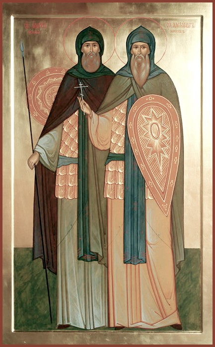 Икона - Преподобные Александр (Пересвет) и Андрей (Ослябя)
