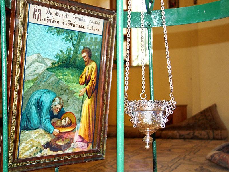 Икона на месте обретения в Часовне Обретения главы Иоанна Предтечи