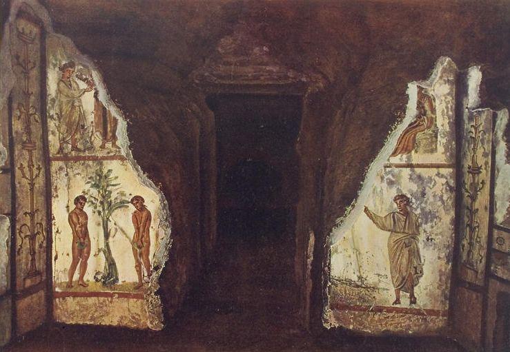 Катакомбы святых Петра и Марцеллина слева — Адам и Ева, справа — Оранта (Иосиф Вильперт, 1903 год)