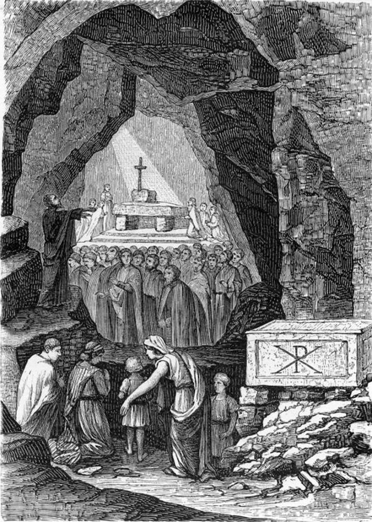 Раннехристианское богослужение в катакомбах святого Каллиста (гравюра XIX века)