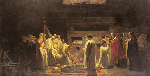 Ш.Ленепвё. Погребение мучеников в катакомбах. 1855 год