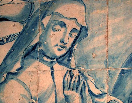 Фрагмент изображения святой Кетеван с фрески собора Эн-Грасиа