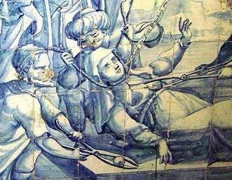 Фрагмент с мученичеством Кетеван на фреске в Лиссабоне