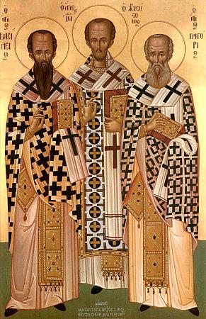 Василий Великий, Иоанн Златоуст и Григорий Богослов - современная греческая икона