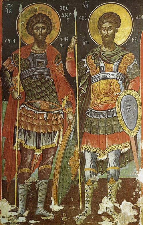 Св. вмчч. Феодор Стратилат и Феодор Тирон. Монастырь Ставроник. Греция, Афон. XVI в.