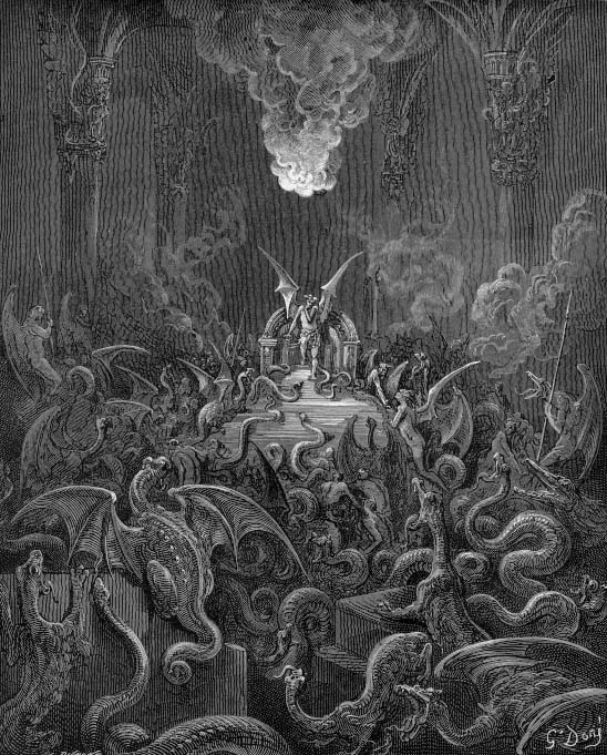Сатана и собрание демонов в аду. Иллюстрация Гюстава Доре.
